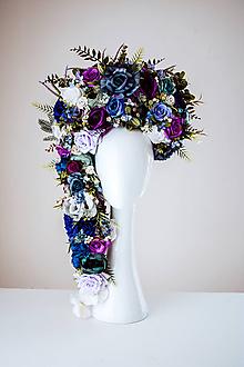 Ozdoby do vlasov - Fialová rozprávková kvetinová koruna - 10624516_