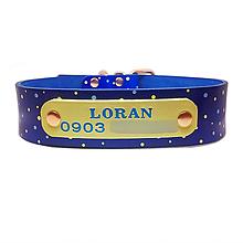 Pre zvieratká - Modrý obojok so žltými a modrými bodkami ,menom a číslom - 10623964_