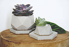 Nádoby - Betónový kvetináč Rebus (S: - Biela) - 10623665_