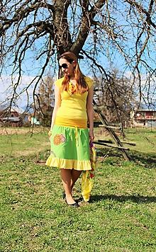 """Sukne - """"Zeleno-žlto-mandalová"""" - 10625611_"""