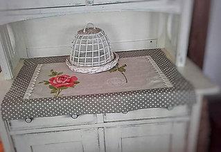 Úžitkový textil - Lněná štola s růží - 10623652_