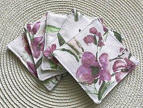 Úžitkový textil - Podšálky fialové kvety 5 ks - 10623950_
