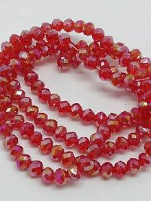 Korálky - Rondelkové korálky - 4 mm (Červená so zl. pok.) - 10625057_