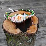 Ozdoby do vlasov - Venček s ružičkami marhuľovo ružový - 10627055_