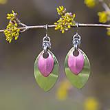 Náušnice - Náušnice Double Luxury - limetka a růžová - 10626193_
