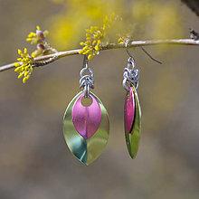 Náušnice - Náušnice Double Luxury - limetka a růžová - 10626192_