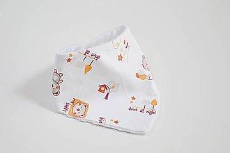 Detské doplnky - Nákrčník oranžový macko + minky white - 10626326_