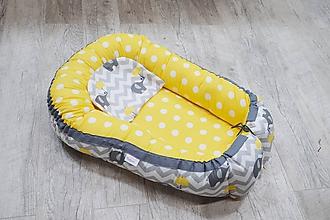 Textil - Hniezdo pre bábätko žlto-sivé so sloníkom - 10627461_
