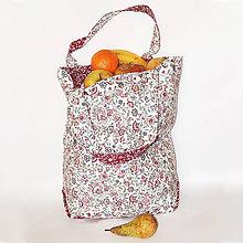Veľké tašky - Veľká, pevná, obojstranná  textilná taška - Lúka / bordová - 10628153_
