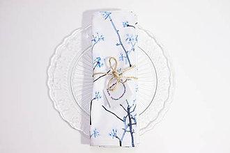 Úžitkový textil - Set štyroch textilných akvarelových prestieraní - Halúzky - 10626050_