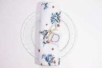 Úžitkový textil - Set štyroch textilných akvarelových prestieraní - Jahody - 10626075_