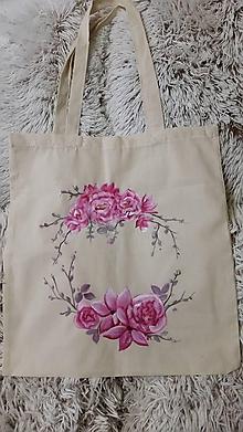 Nákupné tašky - Nákupná taška - ružové pivónie... - 10628536_