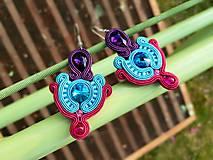 Náušnice - Výtanie jari - ručne šité šujtášové náušnice - soutache earring - 10627985_