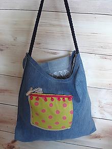 Nákupné tašky - Riflová taška - rozmarná bodka - 10627399_