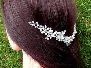 Ozdoby do vlasov - vlasová ozdoba, venček, čelenka - ivory + číra - 10627554_