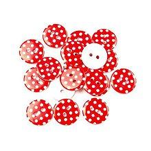 Galantéria - gombík plastový červený dots - 10627009_