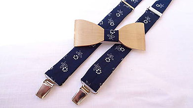 Doplnky - Pánsky drevený motýlik  + traky , folklórne - 10627313_