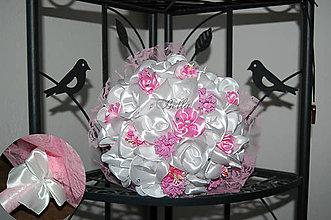 Kytice pre nevestu - Saténová kytica ružovo - biela - 10626241_