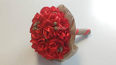 Kytice pre nevestu - Svadobná červená kytica s jutou - 10626440_