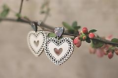 Náušnice - Čipkovance - srdce  (Bielo - tyrkysová s diamantíkmi) - 10627719_