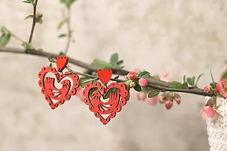 Náušnice - Srdce Vtáčence (Červená) - 10627614_