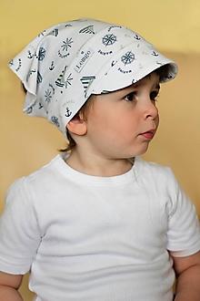 Detské čiapky - Letná pružná šatka so šiltom marine - 10625901_