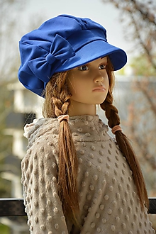 Detské čiapky - Tenšia baretka na jar jeseň modrá Paris - 10628830_