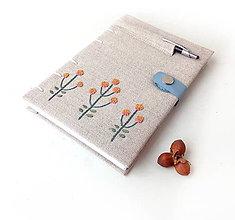 Papiernictvo - Vyšívaný zápisník Žlté kvety - A5 - 10626494_