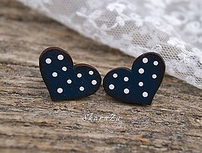 Náušnice - Heart dots mini // Indigo - 10627597_