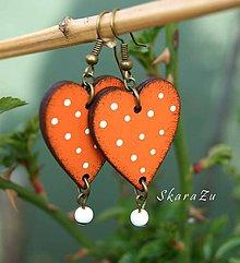 Náušnice - Heart dots // Orange - 10627628_