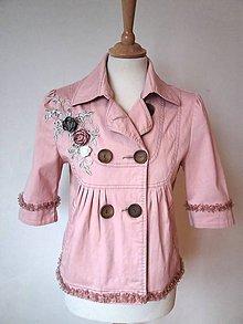 Kabáty - romantický kabátik  -recyklácia - 10630047_