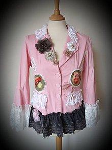 Kabáty - romantické sako v ružovej záhrade - recyklácia - 10630087_