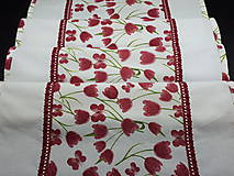 Úžitkový textil - Jarná sada tulipán (Stredový obrus s čipkou) - 10630649_