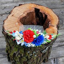 Ozdoby do vlasov - Hrebienok z lúčnych kvetov, folklórny - 10631126_