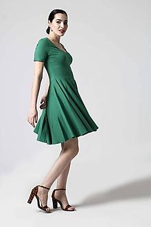 Šaty - Zelené šaty s kruhovou sukňou - 10629316_