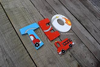 Detské doplnky - 10cm písmenká pre požiarnika - 10630051_