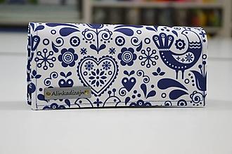 Peňaženky - Modro-biela folk vtáčiková peňaženka - 10630265_