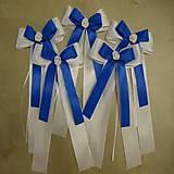 Dekorácie - výzdoba svadobné auta - mašle farba modrá - 10631013_