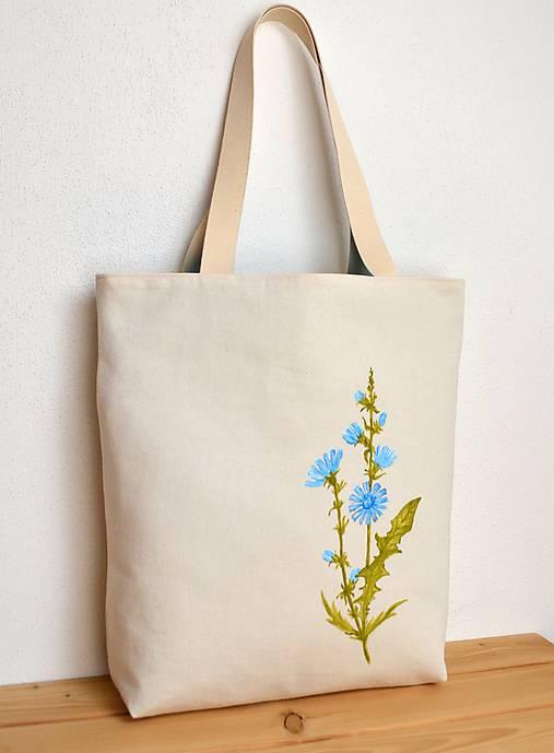 Obojstranná taška - ručne maľovaná -Čakanka