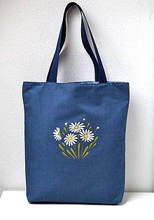 Nákupné tašky - Obojstranná taška - ručne maľovaná -Margaréty - 10630792_