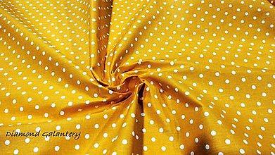 Textil - Bavlnená látka - Biele bodky 4 mm na žltom - cena za 10 cm - 10631681_