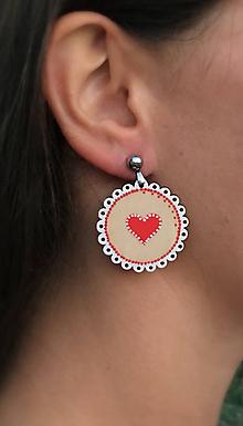 Náušnice - maľované náušnice Folk srdce - 10629915_