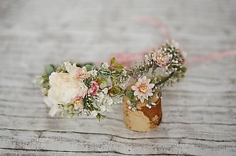 Ozdoby do vlasov - Dvojitý romatický kvetinový venček - 10629233_