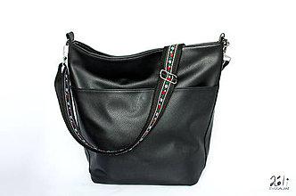 Iné tašky - Folk popruh na kabelku s nastaviteľnou dĺžkou (Čierny s čiernou krojovkou) - 10632045_