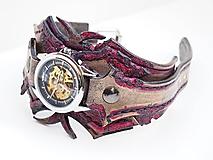 Náramky - Steampunk náramkové hodinky červeno čierne - 10631838_