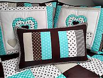 Úžitkový textil - Vankúše Tyrkys-Hnedá - 10629025_