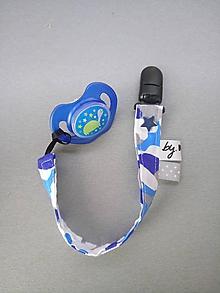 Detské doplnky - Šnúrka na dudlík modrý maskáč - 10631553_