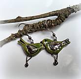 Keramické náušnice vtáčiky zelené