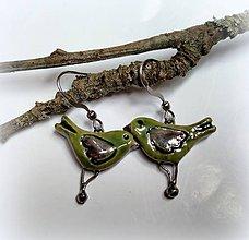 Náušnice - Keramické náušnice vtáčiky zelené - 10629388_