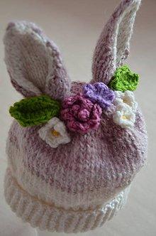 Detské čiapky - Čiapočka zajko v záhrade - 10631560_